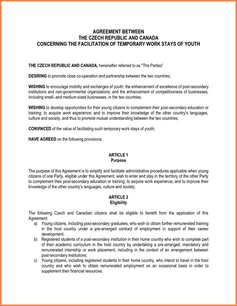 agreement between two template 10 letter of agreement template between two