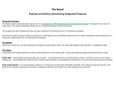 Writing A Tv Reality Show Proposal Websitereports12 Web Fc2 Com Podcast Sponsorship Template