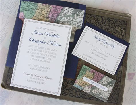 Wedding Invitations New Jersey by Vintage Map Destination Wedding Invitation New Jersey
