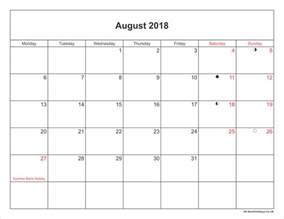 Kalender Augustus 2018 August 2018 Calendar Printable With Bank Holidays Uk