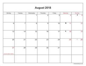 Kalender Augusti 2018 August 2018 Calendar Printable With Bank Holidays Uk