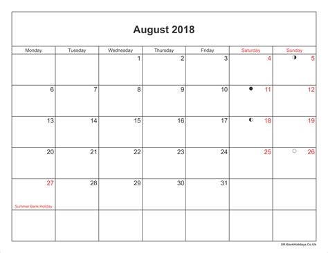 printable holiday planner 2018 august 2018 calendar printable with bank holidays uk