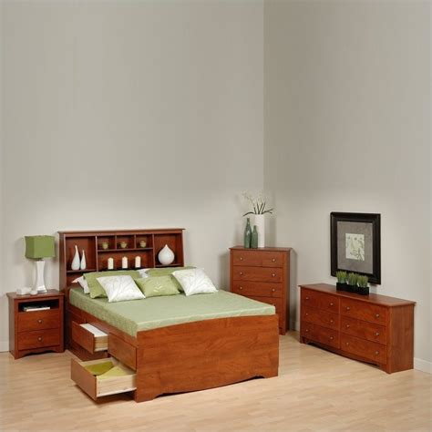full queen storage platform bed 4 piece bedroom set cherry full wood platform storage bed 4 piece bedroom set