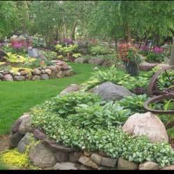 Garden Bed Rocks Rock Walls Hosta And Lamium In The Foreground Garden Goodness Gardens Raised