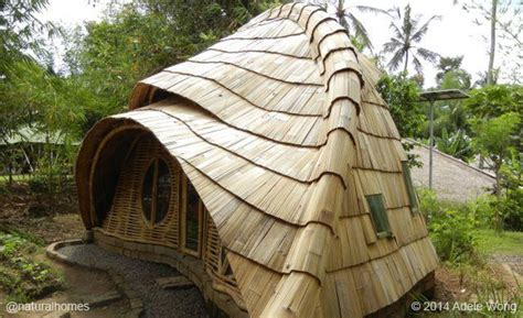 organic house natural building with bamboo clay stone and thatch in bali