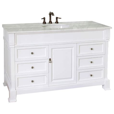 Lowes Bathroom Vanities With Tops Shop Bellaterra Home 60 In White Bellaterra Single Sink Bathroom Vanity With Top At Lowes