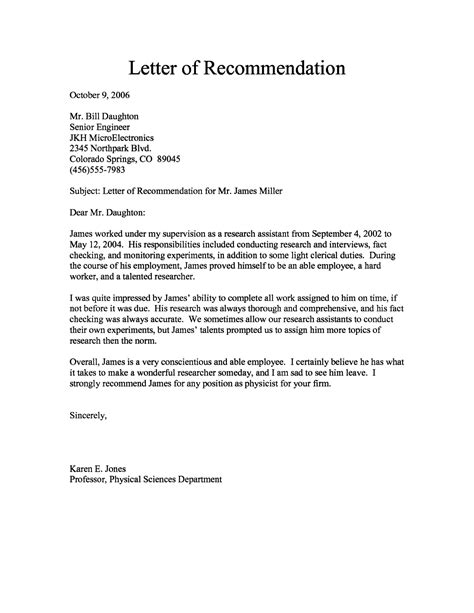Letter Of Recommendation It letter of reference format sle template