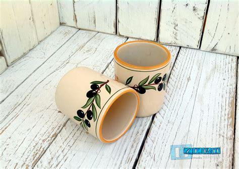 bicchieri in terracotta bicchiere in terracotta senza manico ceramica decoro olive