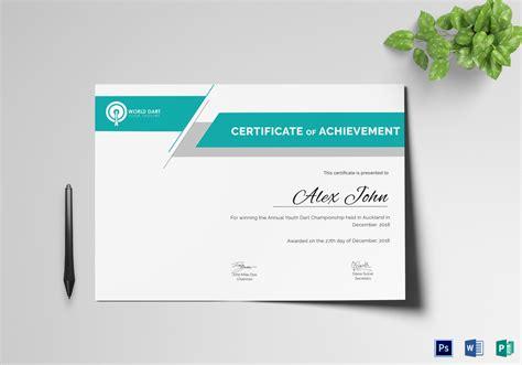 winners certificate template certificate of darts winner design template in psd word