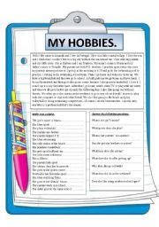 Reading As A Hobby Essay by Teaching Worksheets Hobbies