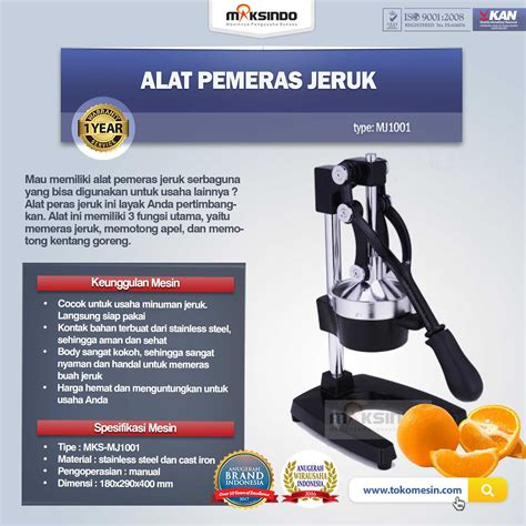 Alat Pemeras Jeruk 1 alat pemeras jeruk manual mj1001 toko mesin maksindo