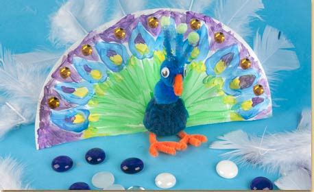 Peacock Paper Plate Craft - paper plate peacock craft project ideas