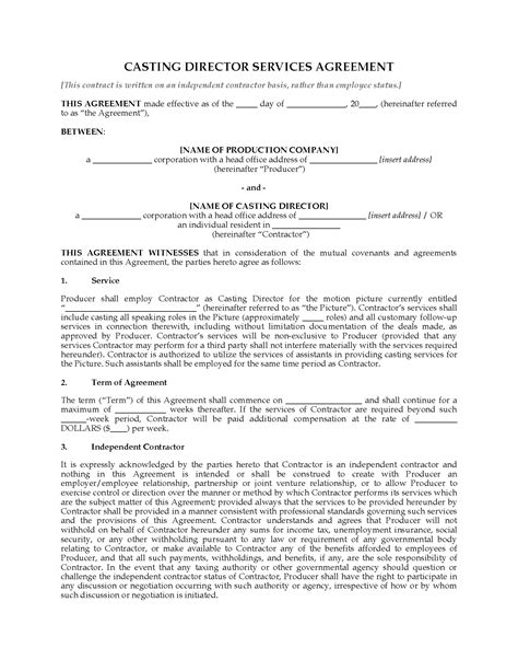 directors service agreement employment contract director services agreement forms and