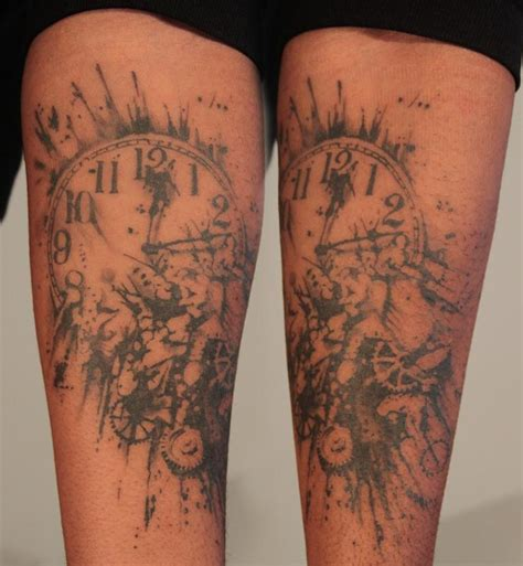 small clock tattoo exploding clock by gene coffey tattoonow
