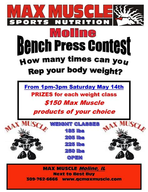 max muscle quad cities news april bench press contest