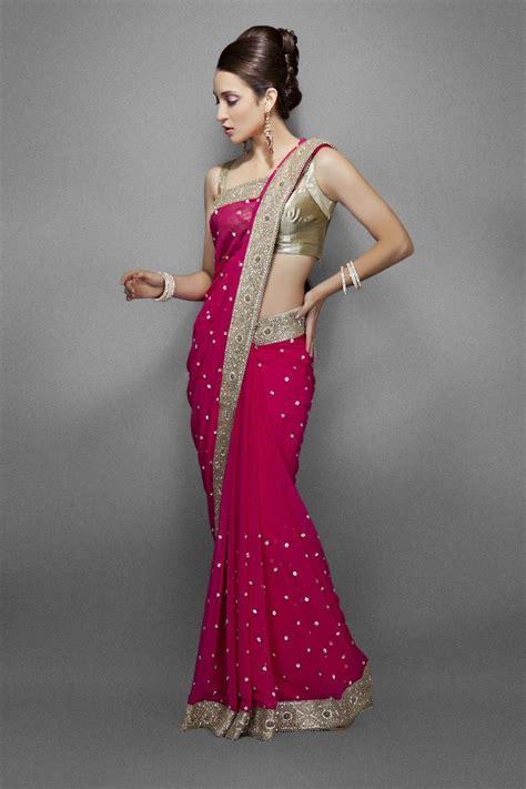 Blouse Fashion Bordirr pink chiffon saree with intricate gold border i fashion more saris