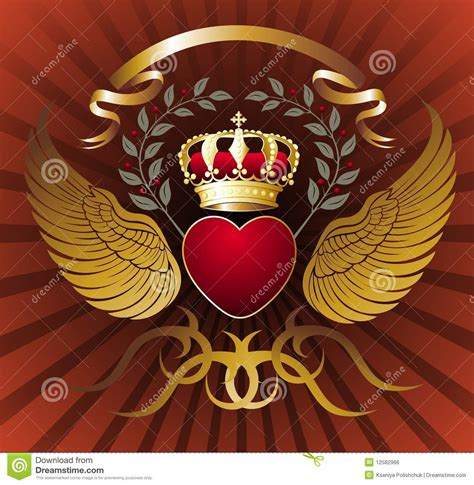 background with heart wings and gold royal crown royalty