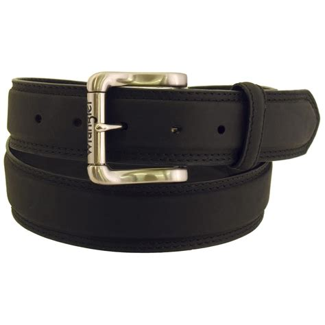 wrangler rugged wear s leather belt decorative edge