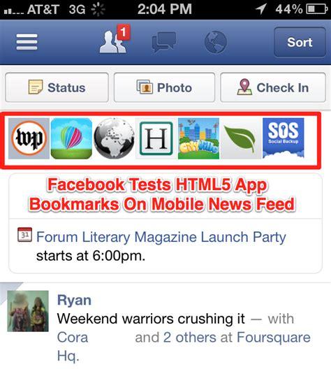 facebook mobile application facebook could jumpstart html5 platform with app bookmarks