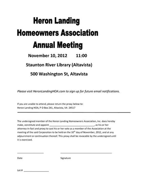 homeowners association templates proxy form template invitation templates hoa proxy