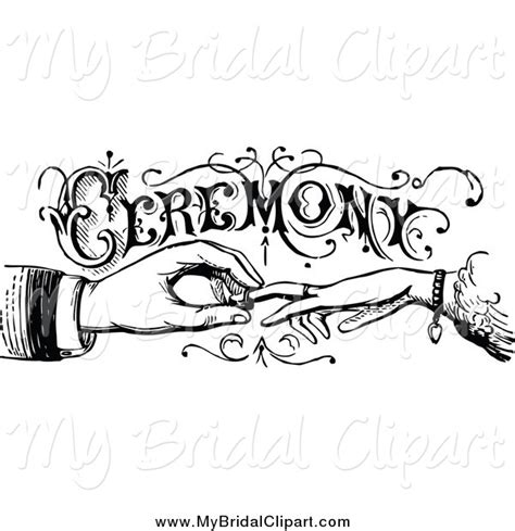 Wedding Ring Exchange Clipart by Bridal Clipart Of A Vintage Black And White Wedding
