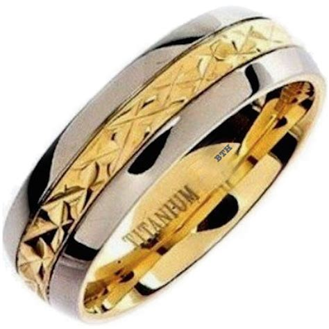 Mens Gold Ip Titanium Wedding Engagement Comfort Band Ring