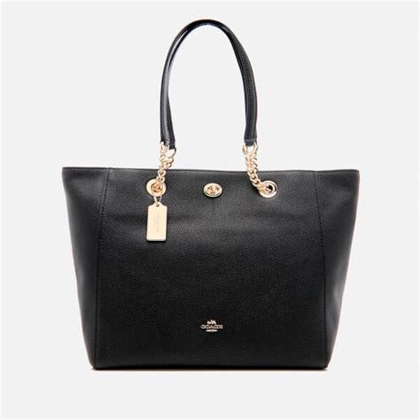 Chain Tote Bags Black coach s turnlock chain tote bag black