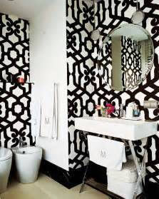 Black White Home Decor Black White Wallpaper Decorating Bath Room Lavatory