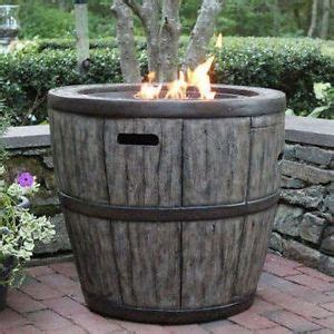wine barrel 27 quot gas fire pit with concrete base table