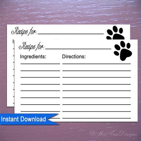 printable dog recipe cards items similar to printable recipe cards template paw