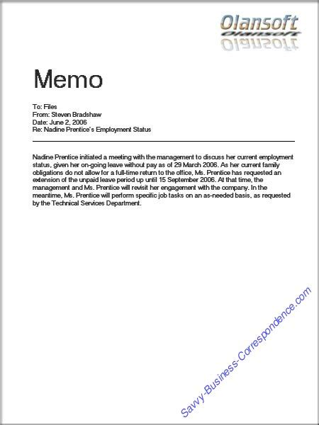 memo to file template are there types of memos
