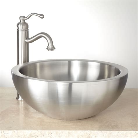Stainless Bathroom Sinks by 16 Quot Tamarisk Wall Stainless Steel Vessel Sink