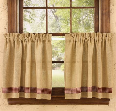 red burlap curtains red burlap check curtain tiers 72 quot x 24 quot park designs