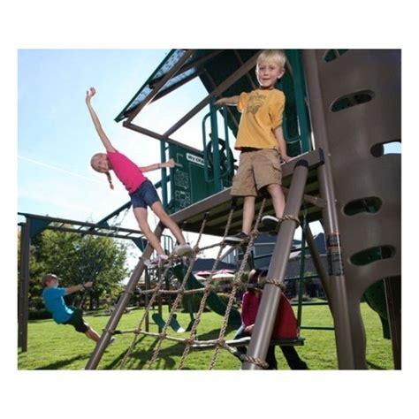 double slide swing set lifetime double slide deluxe playset earthtone 90240