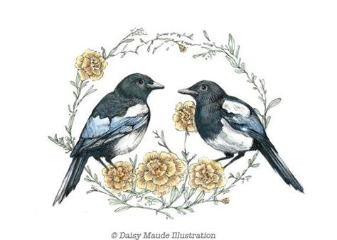 watercolor joy tattoo two for magpies birds watercolour painting