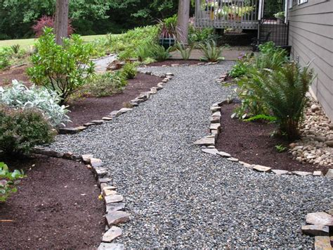 rock pathway ideas easy and cheap crushed rock pathway with rock edging
