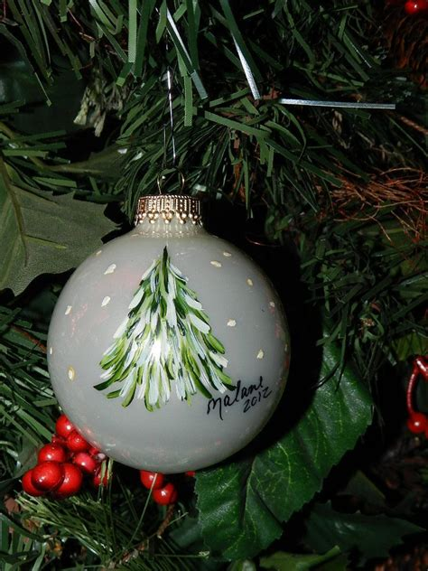 glass hand painted tree ornament   etsy