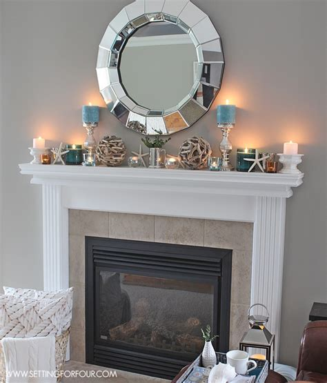 mantel decor ideas blue taupe and white palette