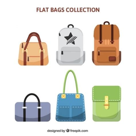 different kinds of backpacks shopping bags mockup vector free