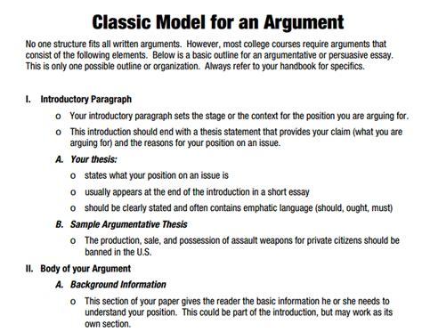 Argumentative Essay Sentence Starters by Classic Model Pre Ap 2