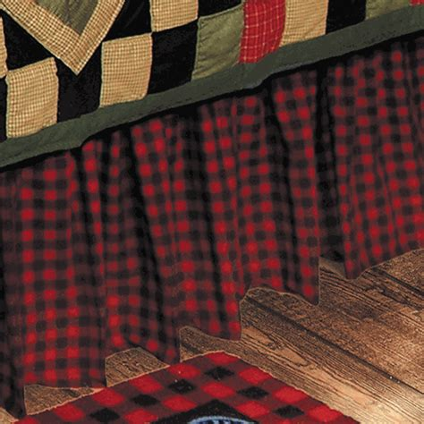 rustic bedding size buffalo check bedskirt black