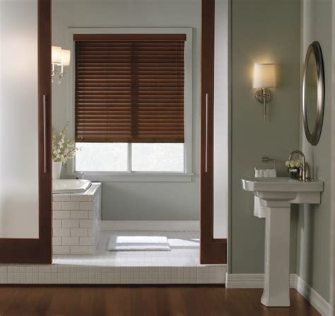 How To Clean Faux Wood Blinds In Bathtub by Levolor 2 Quot Visions Faux Wood Blinds Bathroom