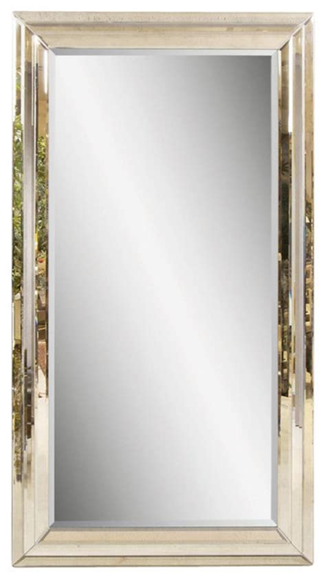 beveled glass floor mirror in antique style frame