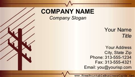 card templates electrician electrical business card