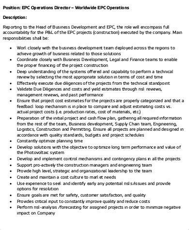 operations director job description sle 10 exles
