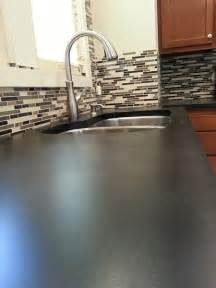 Kitchen Counter Backsplash Ideas Solid Charcoal Concrete Counter Top With Backsplash