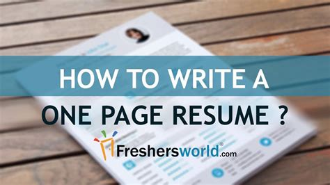 How To Fit Resume On One Page