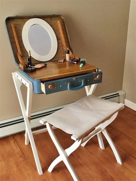 suitcase vanity makeup table suitcase table upcycled