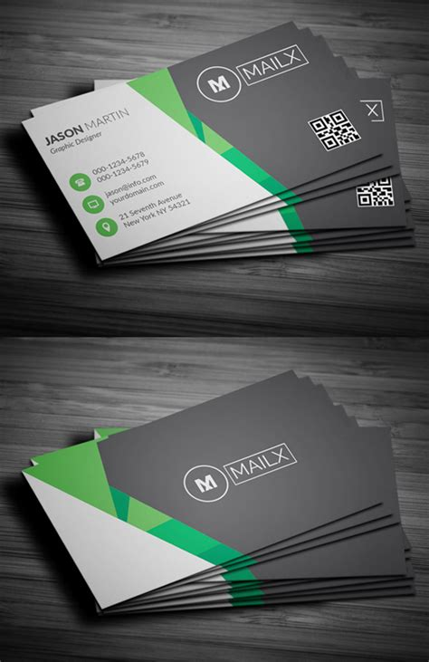Green And White Business Card Template by Professional Business Cards Psd Image Collections Card