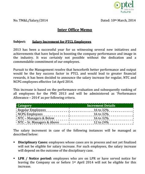 Pay Raise Announcement Letter Ptcl Employees Salary Increase Notification 2014 Page 1 Jpg